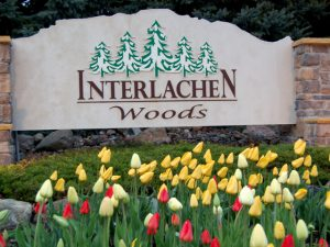 Entrance Sign With Tulips